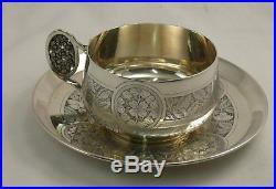 Grande belle tasse + sous tasse à chocolat, argent Minerve Art Nouveau, A. Debain