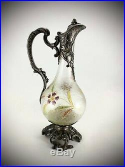 Grande carafe aiguière verre métal argenté dans le goût de Montjoye Art Nouveau