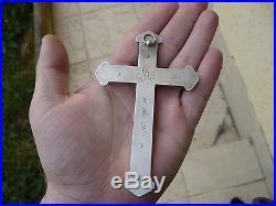 Grande croix pectorale ancienne art nouveau argent massif 73,3 grs