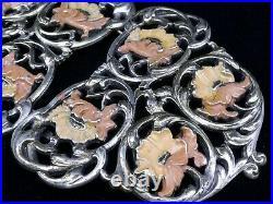 Importante boucle de ceinture ancienne en metal argenté émaillé Art Nouveau 1900