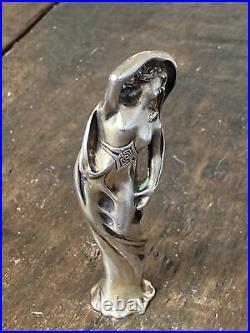JANVIER QUERCIA J. PINTO Art Nouveau pommeau canne en argent massif 1900