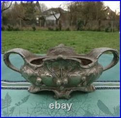Jardinière ancienne Platane argentée Art Nouveau France Antique silver plane pl