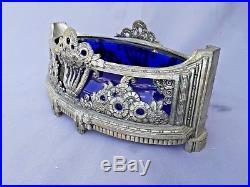 Jardinière centre de table art deco nouveau 1920 1930 christal bleu metal argent
