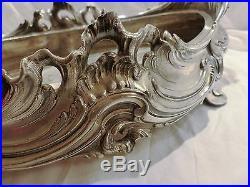 Jardinière coupe en bronze argenté fleur orfèvre Victor Saglier Art Nouveau 19è