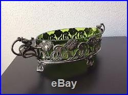 Jardinière en cristal vert et monture en métal argenté par WMF Art Nouveau