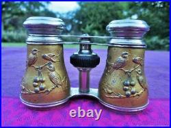 Jumelles anciennes Oiseaux laiton argenté Art Nouveau XIX siècle Antique binocul
