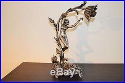 Lampe ART NOUVEAU Femme nature signé RAOUL LARCHE Bronze argenté grand format