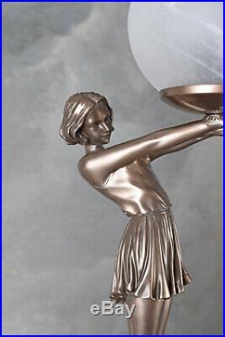 Lampe Art Déco de Table Figure Féminine Écran Boule Chevet