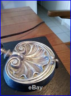 Lampe de bureau Art nouveau- bronze-laiton -métal argenté système Pirouette