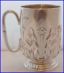 Londres 1909 Art Nouveau Poinçonné Argent Massif Bapltême Mug Gobelet