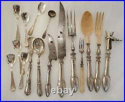 Lot de Cuillères fourchettes couteaux en argent massif minerve art nouveau