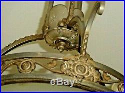 Lustre D'exception Art Nouveau Bronze Argenté Verre Sablé 7 Feux Vers 1900