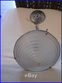 Lustre Ou Plafonnier Moderniste Art Deco 1930 Signe G. Leleu Bronze Argente