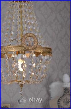 Lustre plaffonier pampilles cristal laiton Napoléon montgolfière bronze dore
