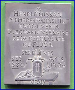 Médaille Art Nouveau Henri Moissan prix Nobel de chimie par Chaplin argent