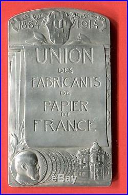 Médaille plaque Art Nouveau FABRICANTS des PAPIER de FRANCE Dautel argent
