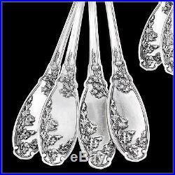 Ménagère de Table ART NOUVEAU en Argent massif CHARDONS Couteaux Nacre 36-pièces