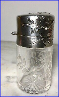 MAGNIFIQUE Flacon à sels ART-NOUVEAU XIXe 1900 Argent Massif cristal BACCARAT