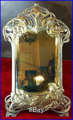 Miroir De Courtoisie. Metal Argenté. Art Nouveau. Wmf. Allemagne. Circa 1900