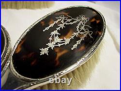 MIROIR face à main BROSSE cheveux habit ARGENT anglais 1920 Blanckensee ECAILLE