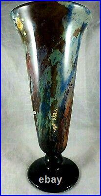 MULLER -frères Beau vase balustre inclusion d'argent et or Art Nouveau 1925