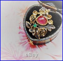 Magnifique bague florale ancienne Art Nouveau or argent rubis émeraude