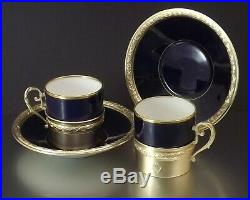Maillard Coffret Paire De Tasses A Cafe Porcelaine Et Argent Massif Vermeil 1905