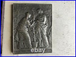 Médaille argent massif Dupuis Art Nouveau 1892 horticulture 80,5 g silver