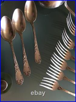 Ménagère Art Nouveau Decors Au Pavot 20 Pieces Orfevre Boulanger Metal Argenté