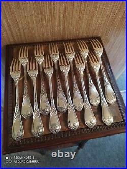 Ménagère Complète 37 Pièces Style Art Nouveau Métal Argenté
