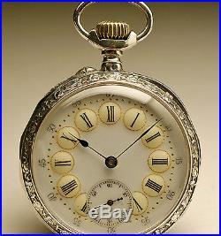 Montre ancienne gousset ART NOUVEAU en ARGENT 1900 SILVER pocket watch