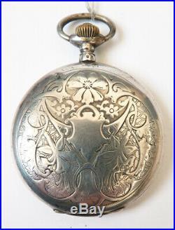 Montre de gousset en ARGENT massif Chronomètre LIP Art Nouveau 1900