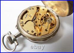 Montre gousset en ARGENT Art Nouveau vers 1900 fleurs fonctionne silver watch