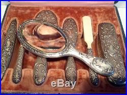 Necessaire de toilette ancien argent minerve, Art Nouveau, XIXE, ensemble coiffure