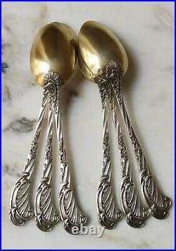 ODIOT Rare 6 x petite cuillère argent massif vermeil art nouveau 1900 XIXe XXe