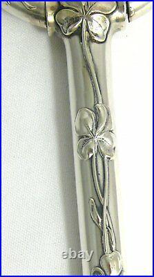 Original manche d'ombrelle en argent massif, Art Nouveau