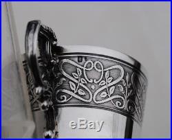 PAIRE DE TASSES EN ARGENT MASSIF ART NOUVEAU Sterling Silver 2pc Cups & Saucers