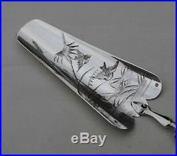 PELLE A TARTE ARGENT MASSIF ART NOUVEAU OISEAU FLEURS Sterling Silver Shovel