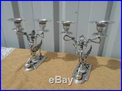 Paire De Bougeoirs Au Phenix Epoque Debut 1900 En Metal Argente