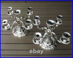 Paire De Candelabres Chandeliers A 5 Feux En Bronze Argente Debut Xx° Siecle