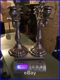 Paire De Chandeliers En Argent Massif 1,140 Kg Net Poincon 925 Peru SAN AGUSTIN