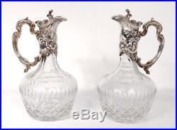 Paire aiguières Louis XV cristal métal argenté coquilles Art Nouveau XIXème