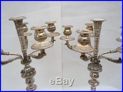 Paire candelabres bronze argenté 6 lumières candlesticks louis XVI 19ème