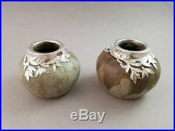 Paire de vases en grès et argent massif Art Nouveau Minerve