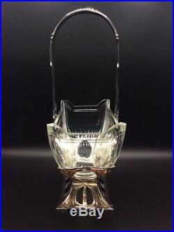 Panier centre de table en métal argenté Christofle Gallia et cristal Art Nouveau