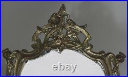 Pavot Miroir de table Art Nouveau Bronze argenté France, ca 1900