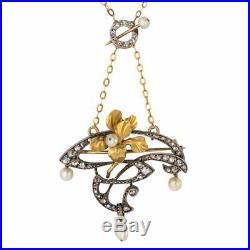 Pendentif Broche Art nouveau Diamants et Perles Or jaune / Argent Art nouveau
