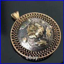 Pendentif / Broche en Or 18 Carats et Argent Bijou Ancien Art Nouveau 1900