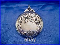 Pendentif art nouveau double miroir biseauté argent massif fin XIX début XX