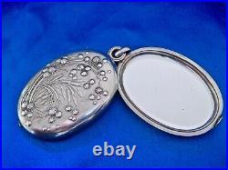Pendentif art nouveau mimosa argent double miroir Murat 1897
